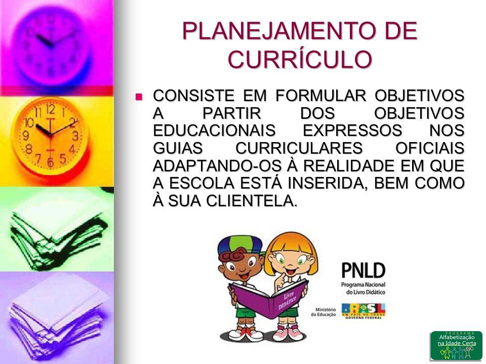 PLANEJAMENTO DE CURRÍCULO