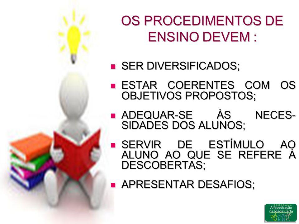 OS PROCEDIMENTOS DE ENSINO DEVEM :