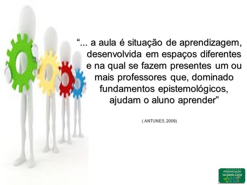 ... a aula é situação de aprendizagem, desenvolvida em espaços diferentes e na qual se fazem presentes um ou mais professores que, dominado fundamentos epistemológicos, ajudam o aluno aprender
