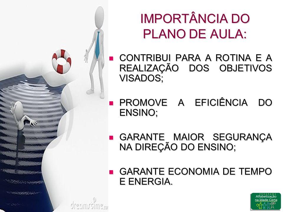 IMPORTÂNCIA DO PLANO DE AULA: