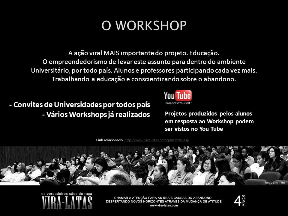 O WORKSHOP - Convites de Universidades por todos país