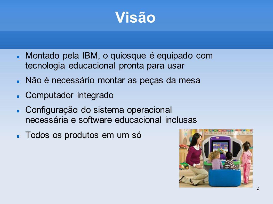 Visão Montado pela IBM, o quiosque é equipado com tecnologia educacional pronta para usar. Não é necessário montar as peças da mesa.