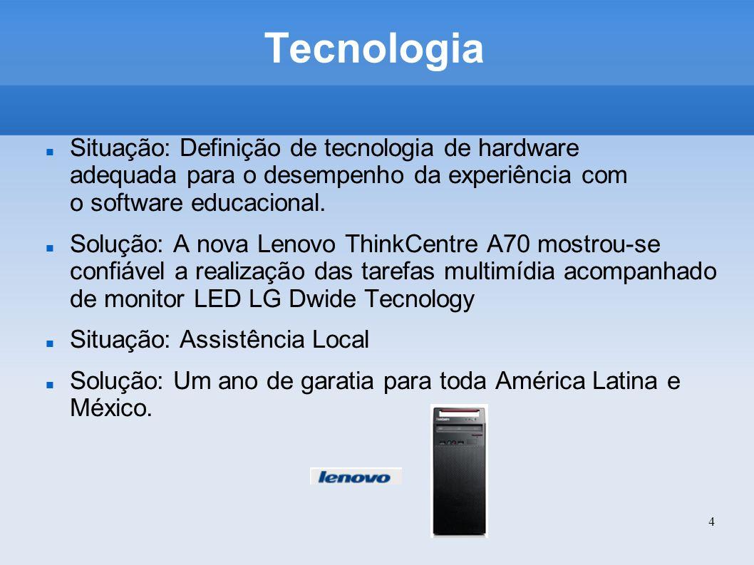 Tecnologia Situação: Definição de tecnologia de hardware adequada para o desempenho da experiência com o software educacional.