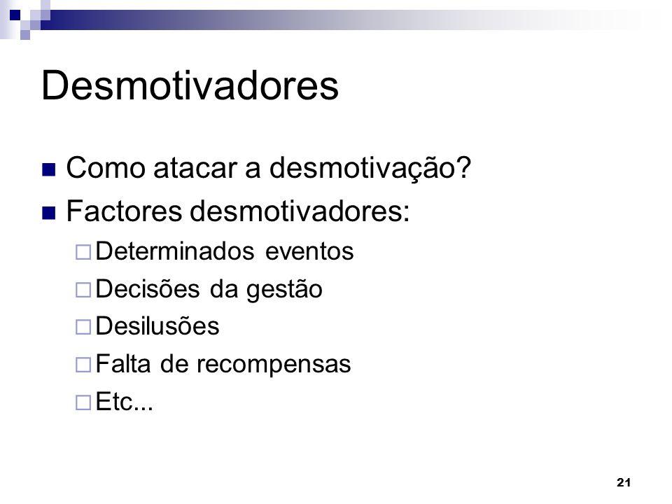 Desmotivadores Como atacar a desmotivação Factores desmotivadores: