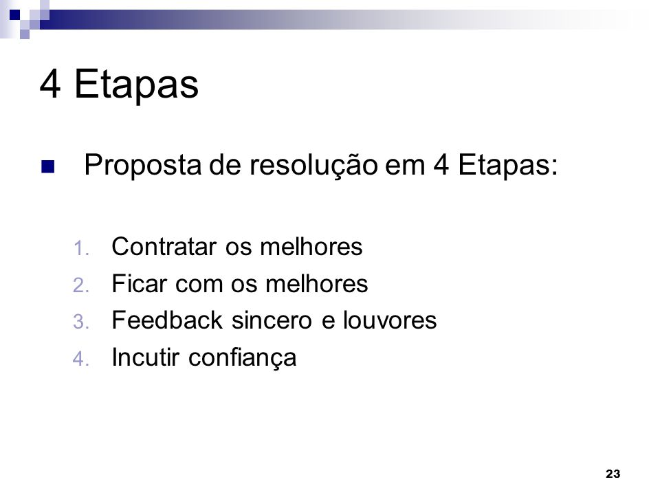 4 Etapas Proposta de resolução em 4 Etapas: Contratar os melhores