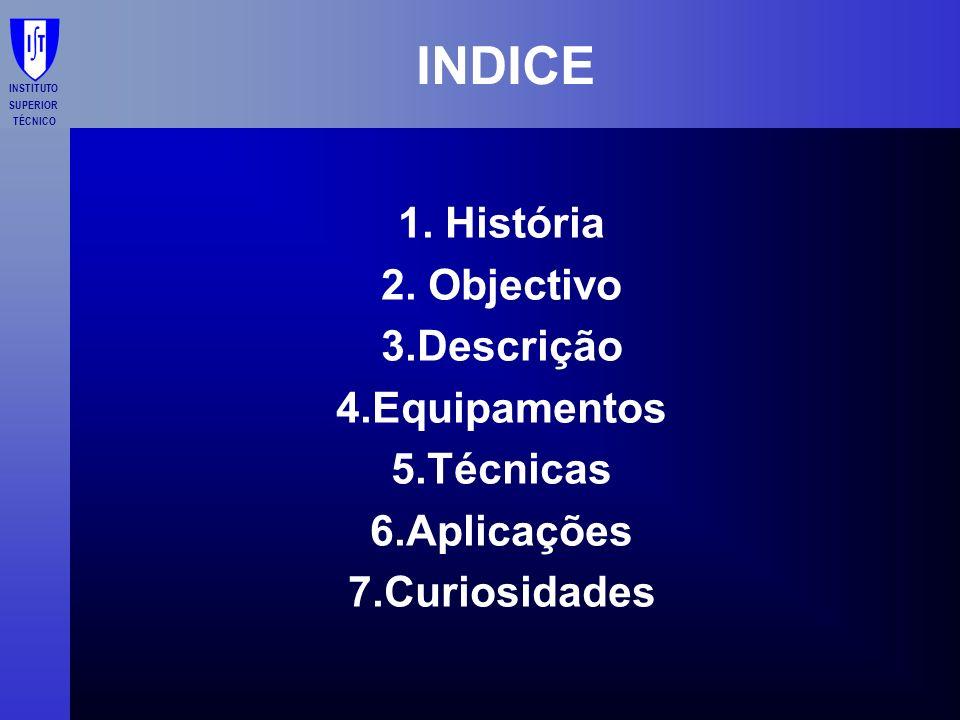INDICE 1. História 2. Objectivo 3.Descrição 4.Equipamentos 5.Técnicas