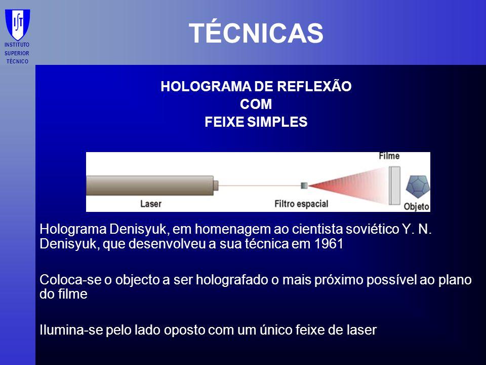 TÉCNICAS HOLOGRAMA DE REFLEXÃO COM FEIXE SIMPLES