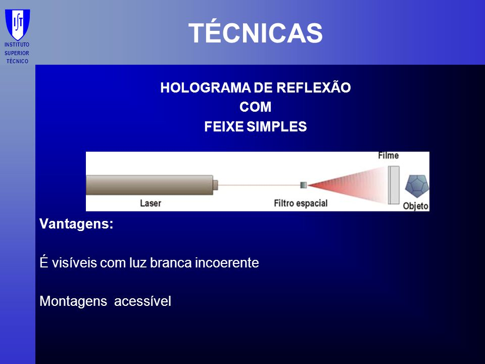 TÉCNICAS HOLOGRAMA DE REFLEXÃO COM FEIXE SIMPLES Vantagens: