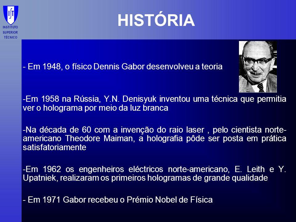 HISTÓRIA - Em 1948, o físico Dennis Gabor desenvolveu a teoria