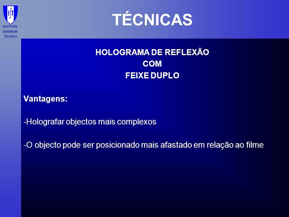TÉCNICAS HOLOGRAMA DE REFLEXÃO COM FEIXE DUPLO Vantagens: