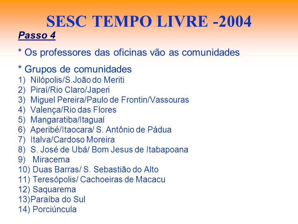 SESC TEMPO LIVRE -2004 Passo 4