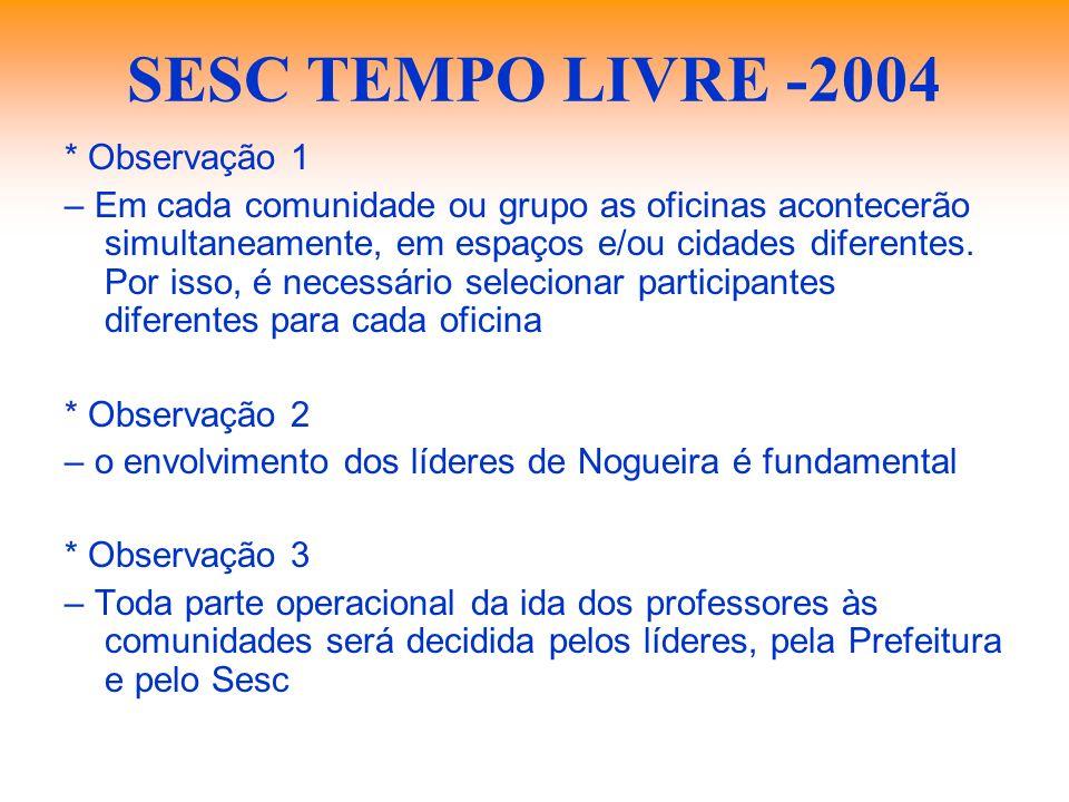 SESC TEMPO LIVRE -2004 * Observação 1