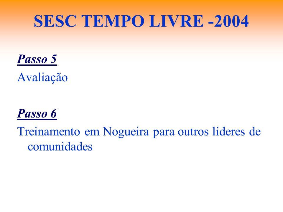 SESC TEMPO LIVRE -2004 Passo 5 Avaliação Passo 6