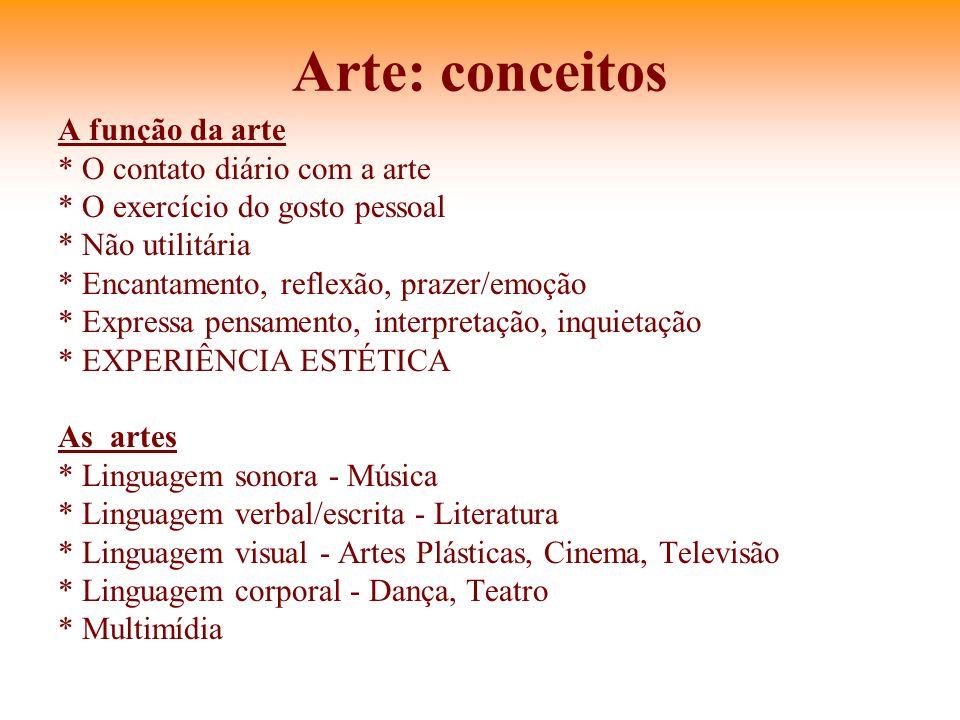 Arte: conceitos A função da arte * O contato diário com a arte