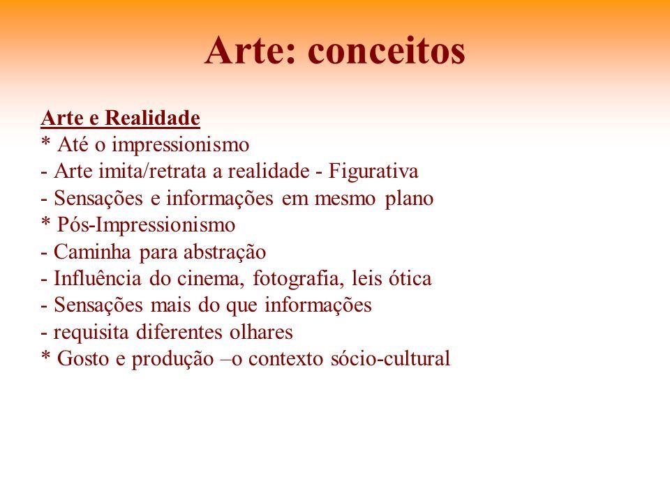 Arte: conceitos Arte e Realidade * Até o impressionismo
