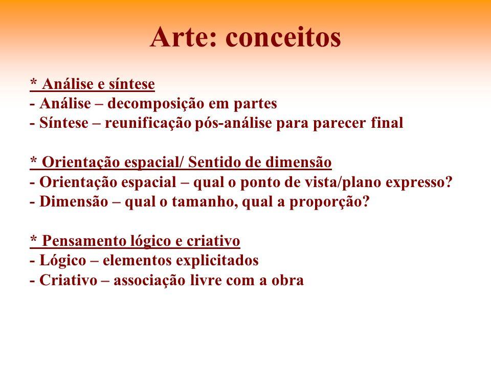 Arte: conceitos * Análise e síntese - Análise – decomposição em partes