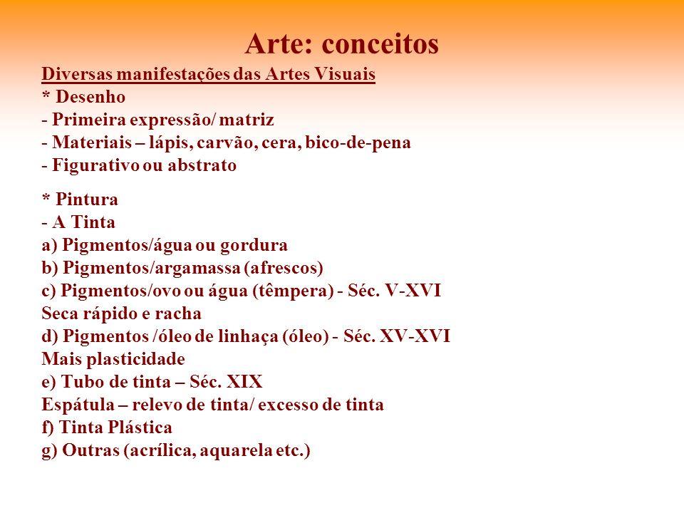Arte: conceitos Diversas manifestações das Artes Visuais * Desenho