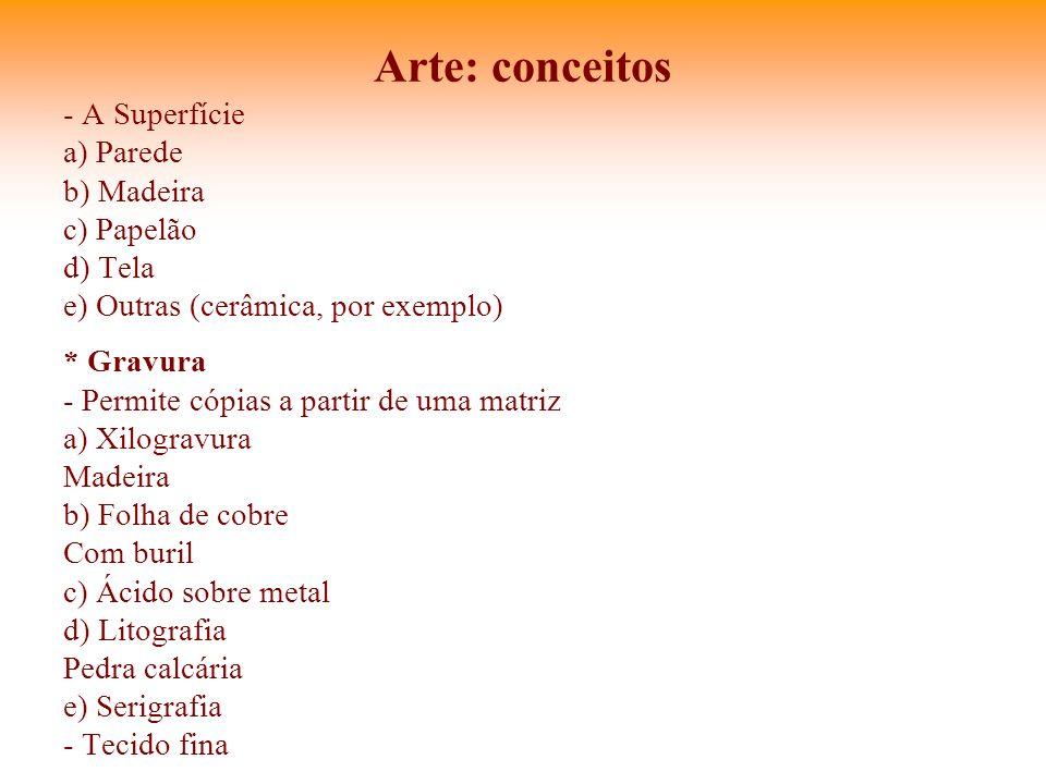Arte: conceitos - A Superfície a) Parede b) Madeira c) Papelão d) Tela