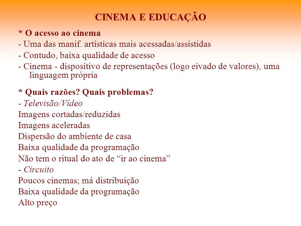 CINEMA E EDUCAÇÃO * O acesso ao cinema