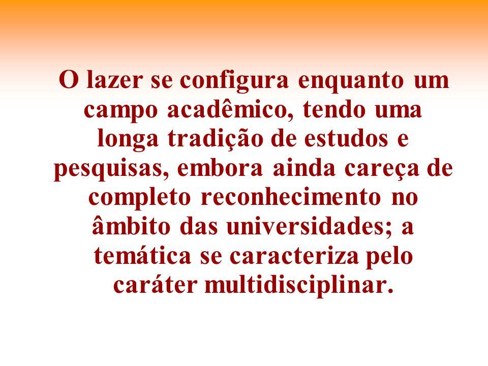 O lazer se configura enquanto um campo acadêmico, tendo uma longa tradição de estudos e pesquisas, embora ainda careça de completo reconhecimento no âmbito das universidades; a temática se caracteriza pelo caráter multidisciplinar.