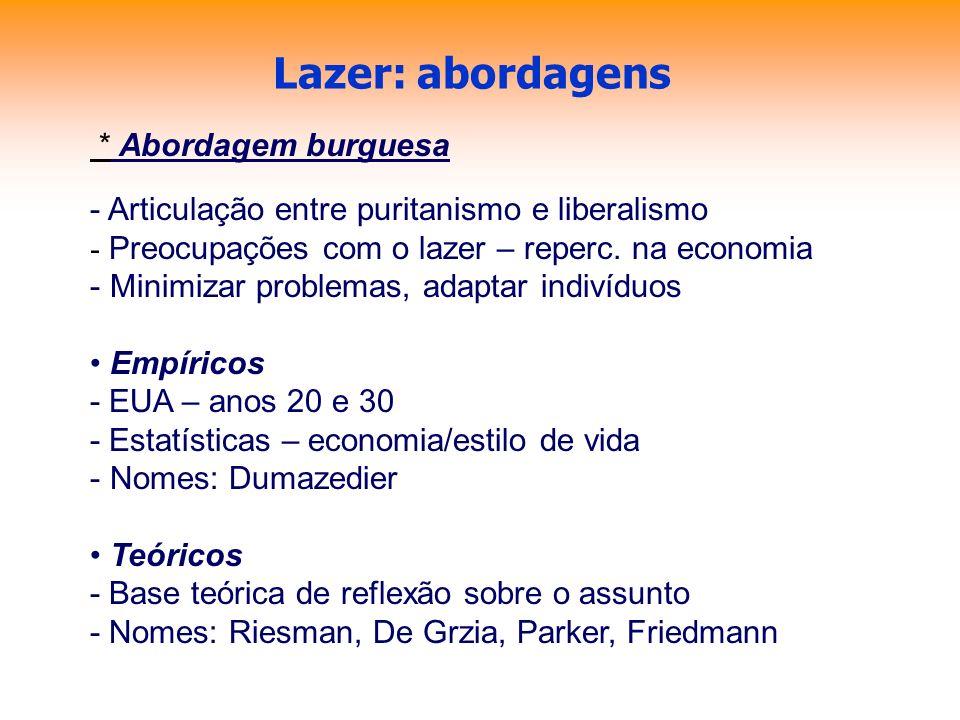 Lazer: abordagens * Abordagem burguesa