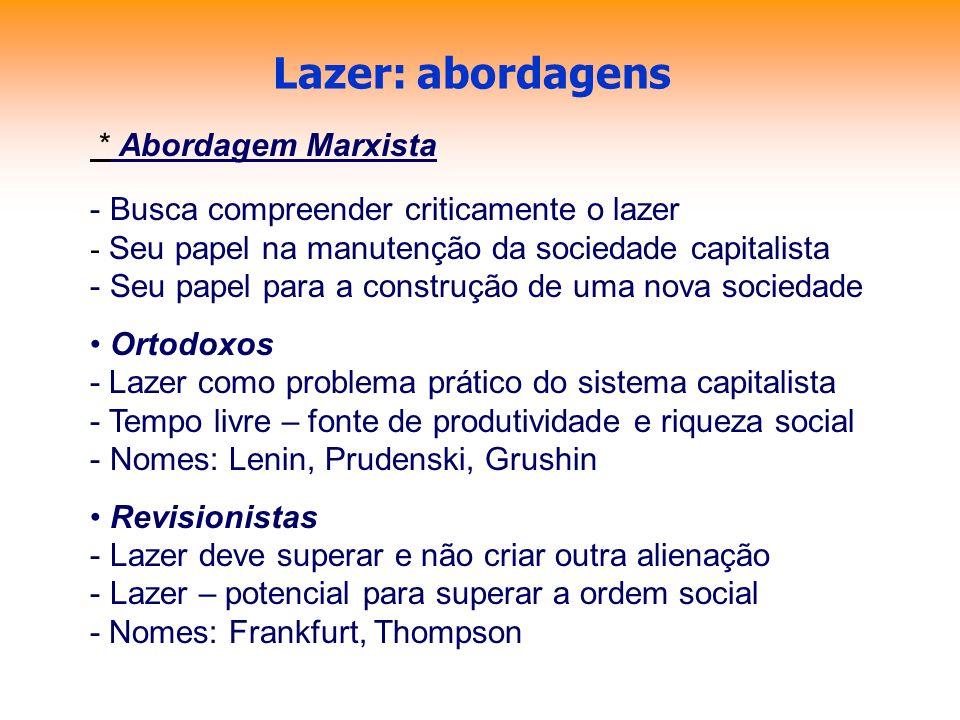 Lazer: abordagens * Abordagem Marxista