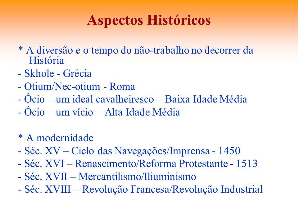 Aspectos Históricos * A diversão e o tempo do não-trabalho no decorrer da História. - Skhole - Grécia.