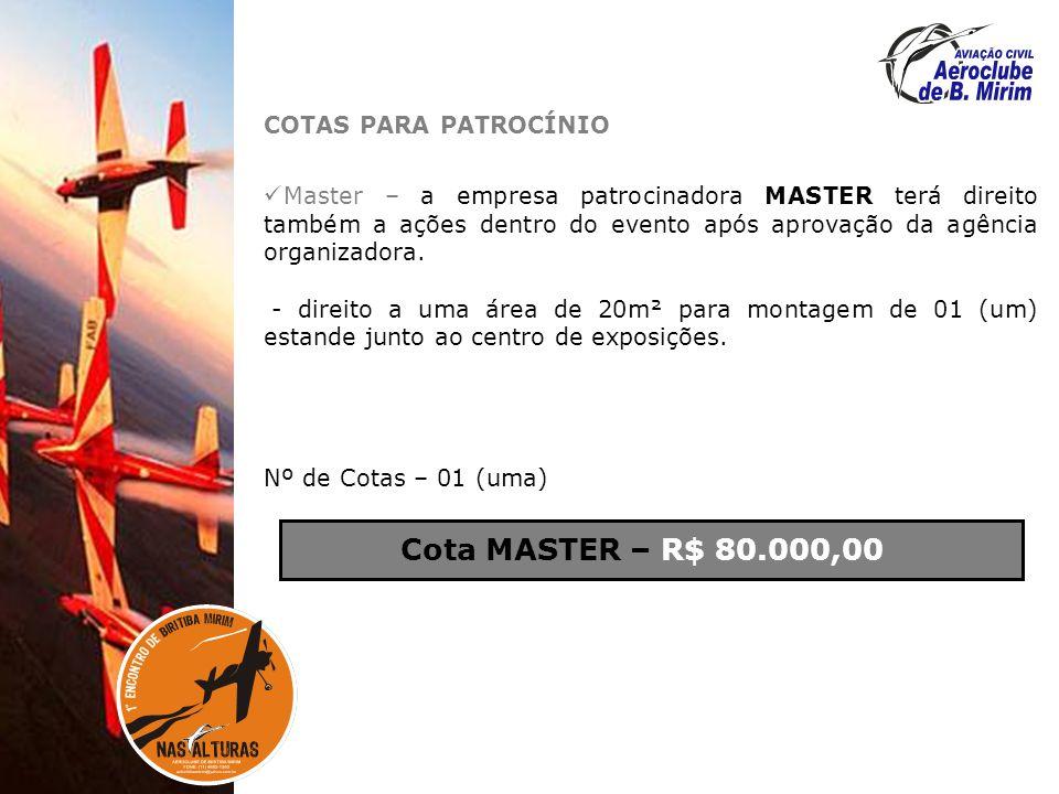 Cota MASTER – R$ 80.000,00 COTAS PARA PATROCÍNIO