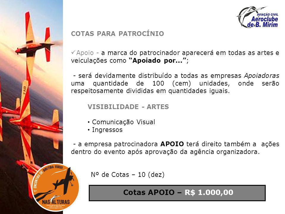 Cotas APOIO – R$ 1.000,00 COTAS PARA PATROCÍNIO