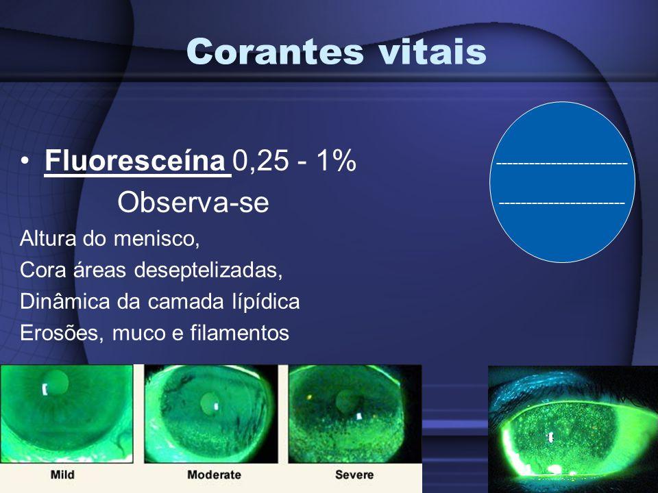 Corantes vitais Fluoresceína 0,25 - 1% Observa-se Altura do menisco,