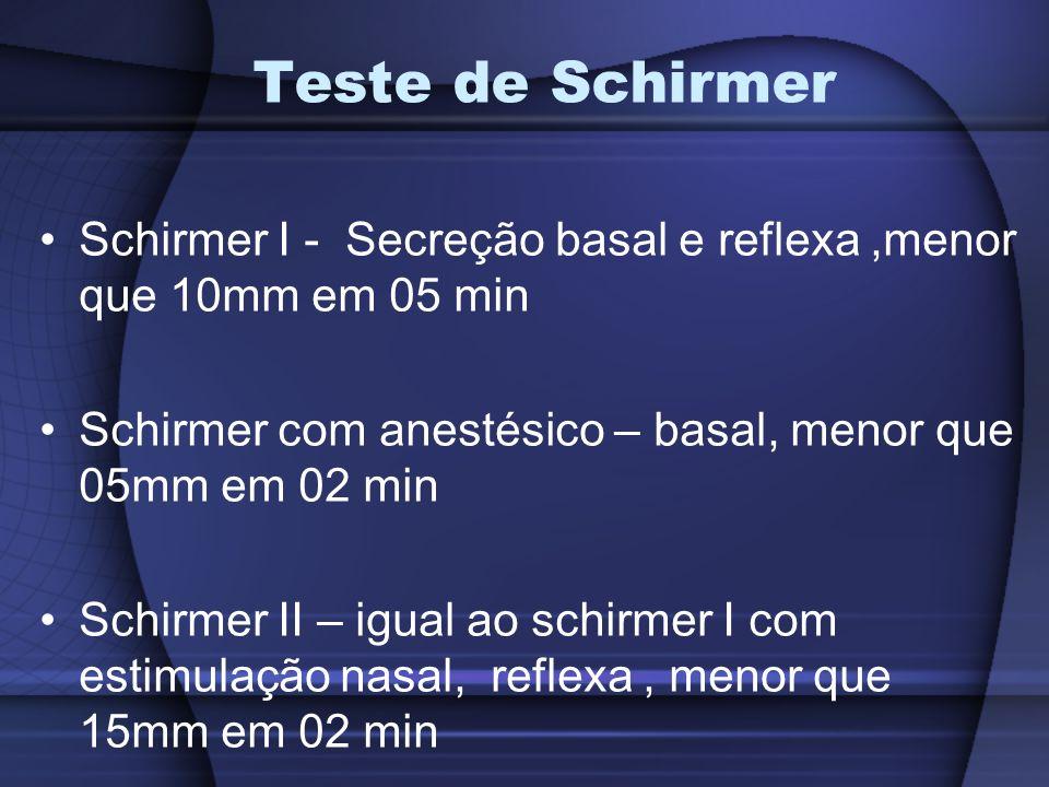 Teste de Schirmer Schirmer I - Secreção basal e reflexa ,menor que 10mm em 05 min. Schirmer com anestésico – basal, menor que 05mm em 02 min.