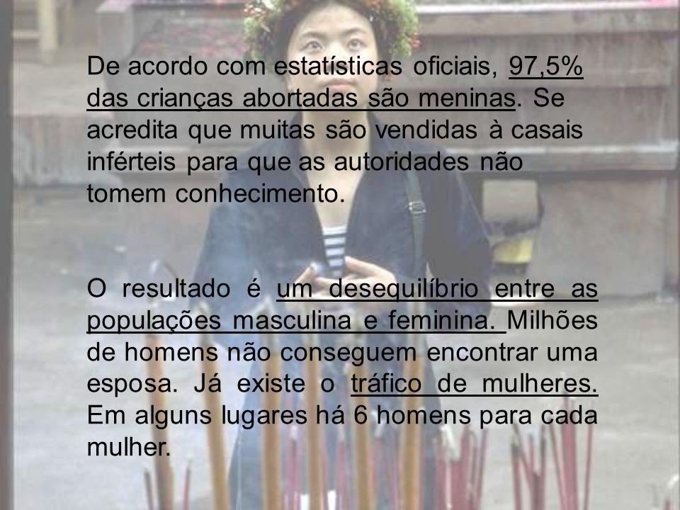 De acordo com estatísticas oficiais, 97,5% das crianças abortadas são meninas. Se acredita que muitas são vendidas à casais inférteis para que as autoridades não tomem conhecimento.