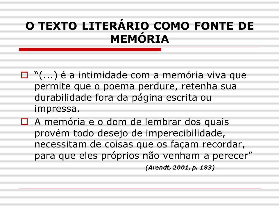 O TEXTO LITERÁRIO COMO FONTE DE MEMÓRIA