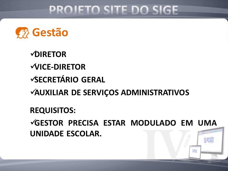 PROJETO SITE DO SIGE Gestão DIRETOR VICE-DIRETOR SECRETÁRIO GERAL