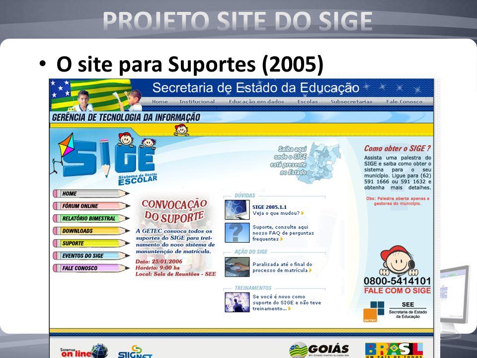 PROJETO SITE DO SIGE O site para Suportes (2005)