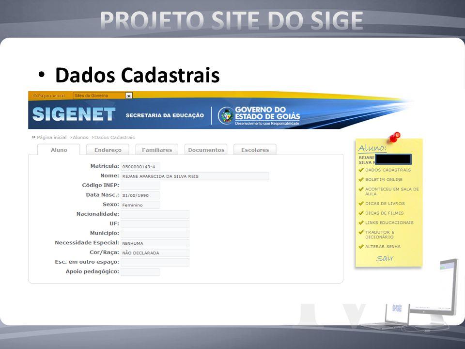 PROJETO SITE DO SIGE Dados Cadastrais