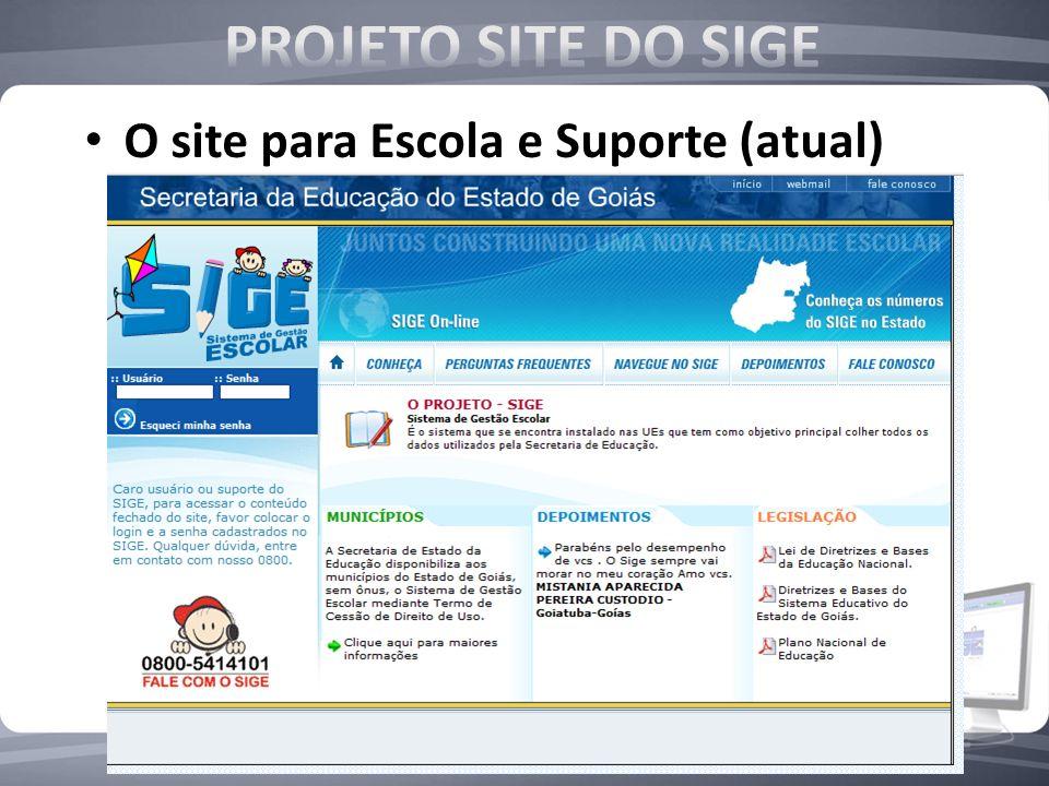 PROJETO SITE DO SIGE O site para Escola e Suporte (atual)