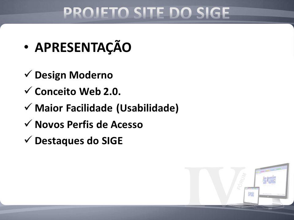 PROJETO SITE DO SIGE APRESENTAÇÃO Design Moderno Conceito Web 2.0.