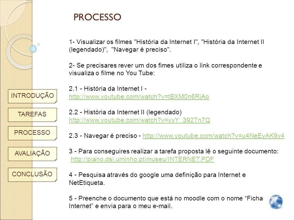 PROCESSO 1- Visualizar os filmes História da Internet I , História da Internet II (legendado) , Navegar é preciso .