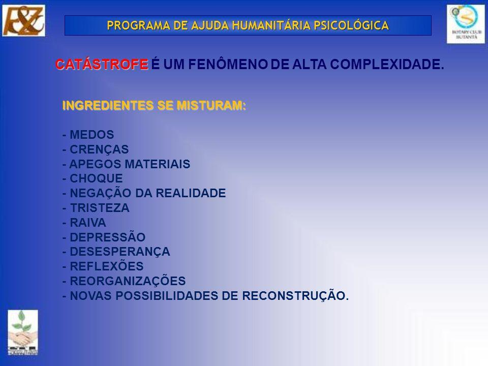 CATÁSTROFE É UM FENÔMENO DE ALTA COMPLEXIDADE.