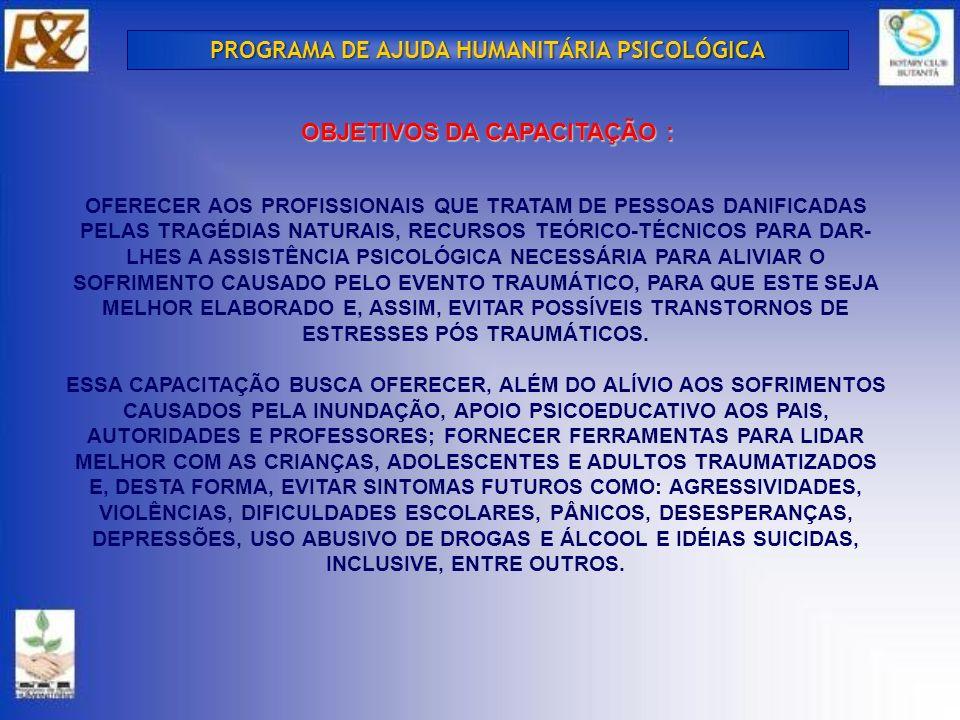 PROGRAMA DE AJUDA HUMANITÁRIA PSICOLÓGICA OBJETIVOS DA CAPACITAÇÃO :