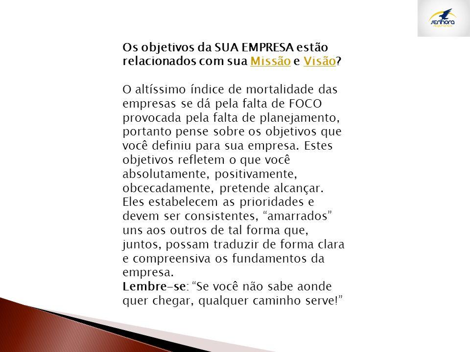 Os objetivos da SUA EMPRESA estão relacionados com sua Missão e Visão