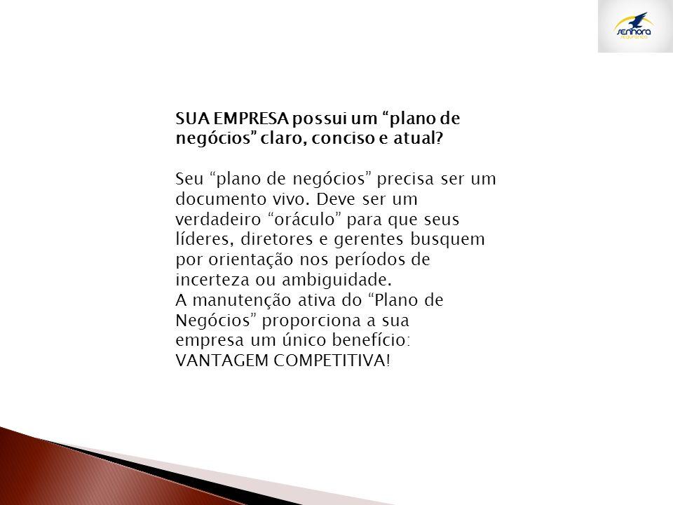 SUA EMPRESA possui um plano de negócios claro, conciso e atual
