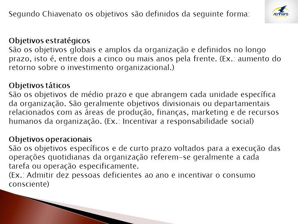 Segundo Chiavenato os objetivos são definidos da seguinte forma: