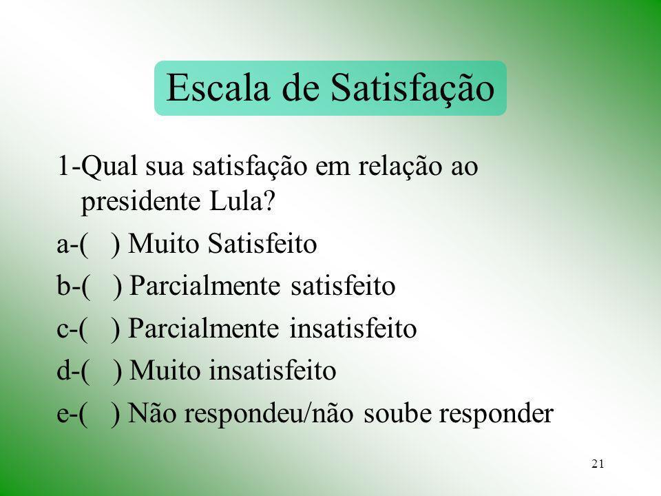 Escala de Satisfação 1-Qual sua satisfação em relação ao presidente Lula a-( ) Muito Satisfeito.