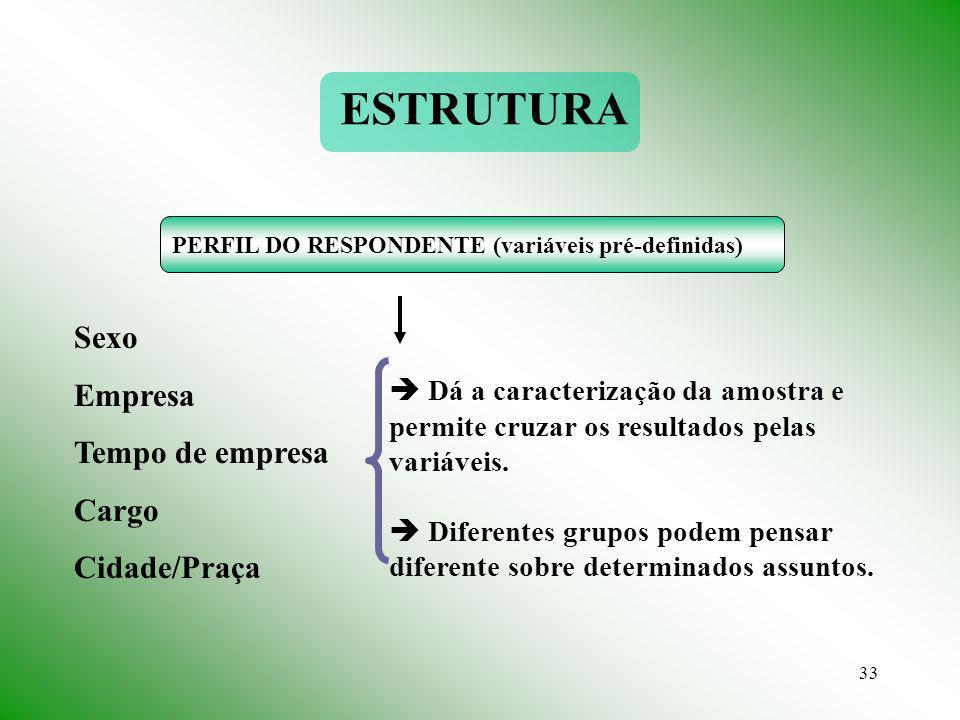 ESTRUTURA Sexo Empresa Tempo de empresa Cargo Cidade/Praça