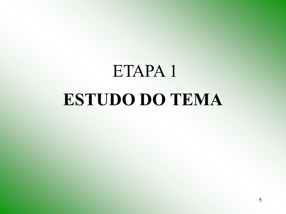 ETAPA 1 ESTUDO DO TEMA