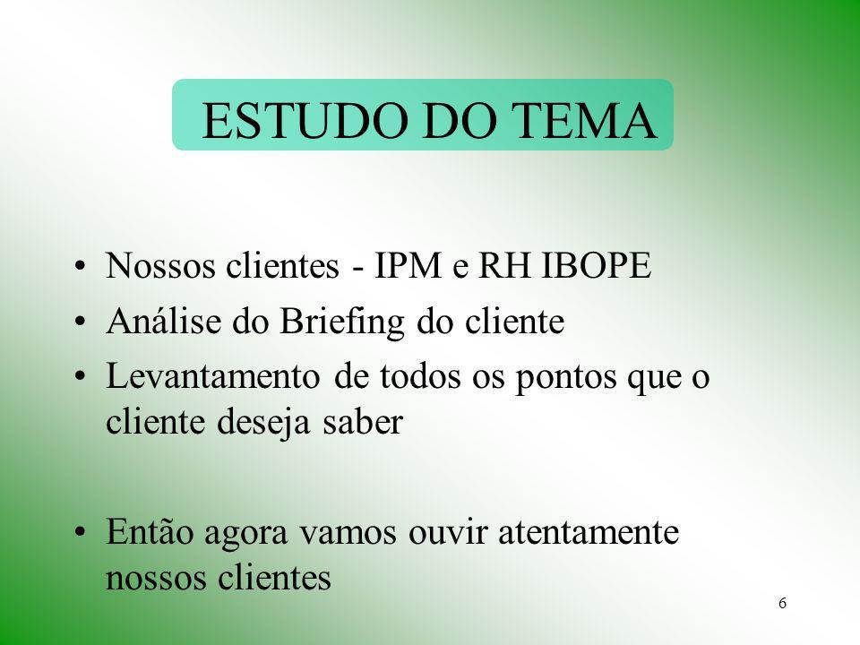 ESTUDO DO TEMA Nossos clientes - IPM e RH IBOPE