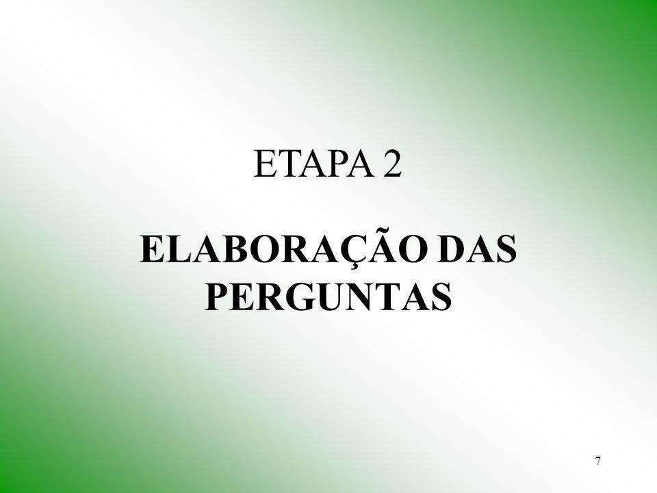 ELABORAÇÃO DAS PERGUNTAS