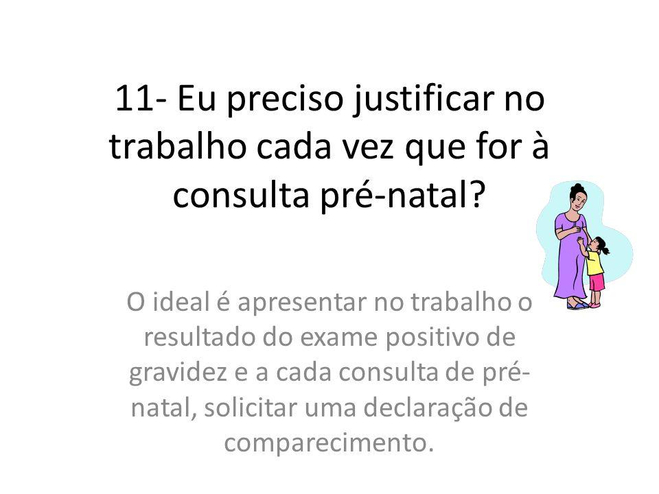 11- Eu preciso justificar no trabalho cada vez que for à consulta pré-natal